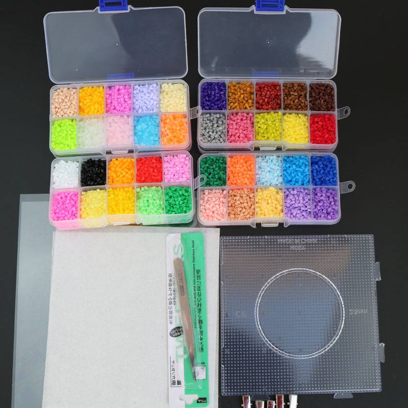 2.6mm eva hama contas diy mini pupukou contas contêm pegboard tangram jigsaw com ferramentas, perler puzzle, crianças brinquedos, brinquedos