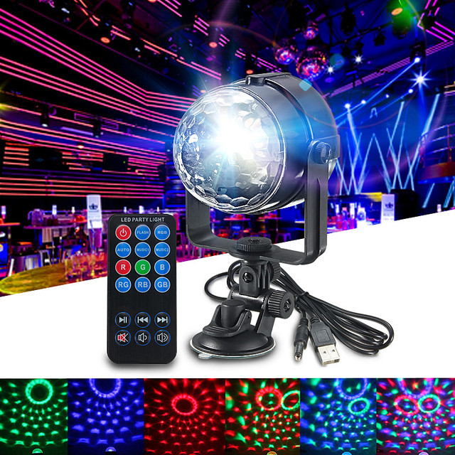 RGB LED Stage Light Mini 3 W Afstandsbedieningen Licht Discobal ...