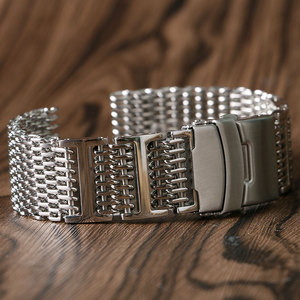 Image 4 - 20mm 22mm 24mm Luxury Shark Mesh Watch Band Strap Stainless Steel Replacement Folding Clasp with Safety Silver+ 2 Spring Bars