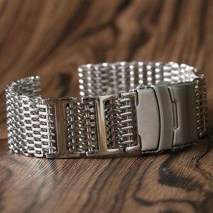 Image 4 - 20mm 22mm 24mm luksusowy pasek od zegarka z siatki rekina wymiana ze stali nierdzewnej składane zapięcie z bezpieczeństwa srebrny + 2 pręty sprężynowe