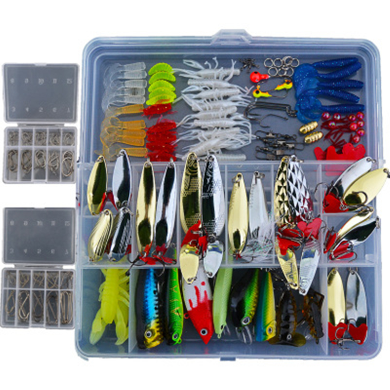 165pcs minnow fishing spoons hooks artificial bait fishing for Fishing lure kits