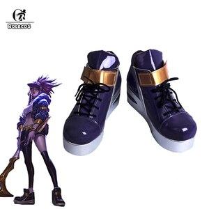 Ботинки для косплея ROLECOS, ботинки для косплея LOL K/DA akали, ботинки для женщин, фиолетовые ботинки для косплея