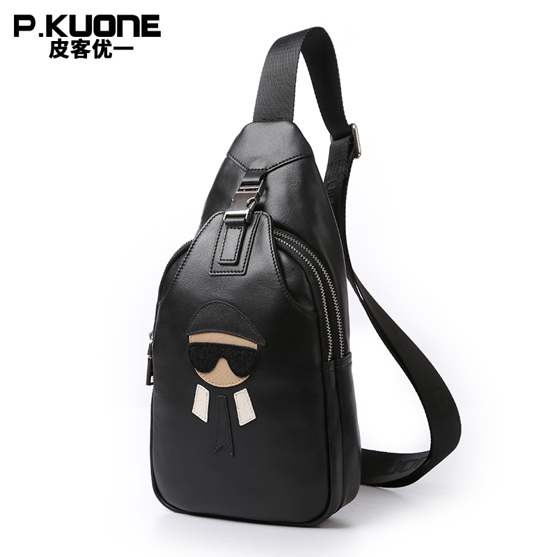 P.KUONE New Fashion Crossbody Bags For Men Genuine Leather Chest Pack Messenger Bag Single Shoulder Leisure Bag Travel Brand Bag casual canvas women men satchel shoulder bags high quality crossbody messenger bags men military travel bag business leisure bag