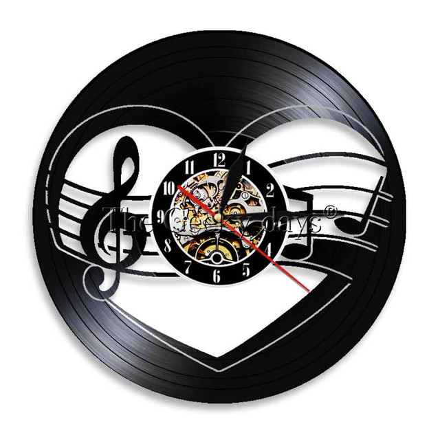 1piece Music Notes Vinyl Record Wall Clock Vintage Rock N Roll Home Decor Handmade Gift For