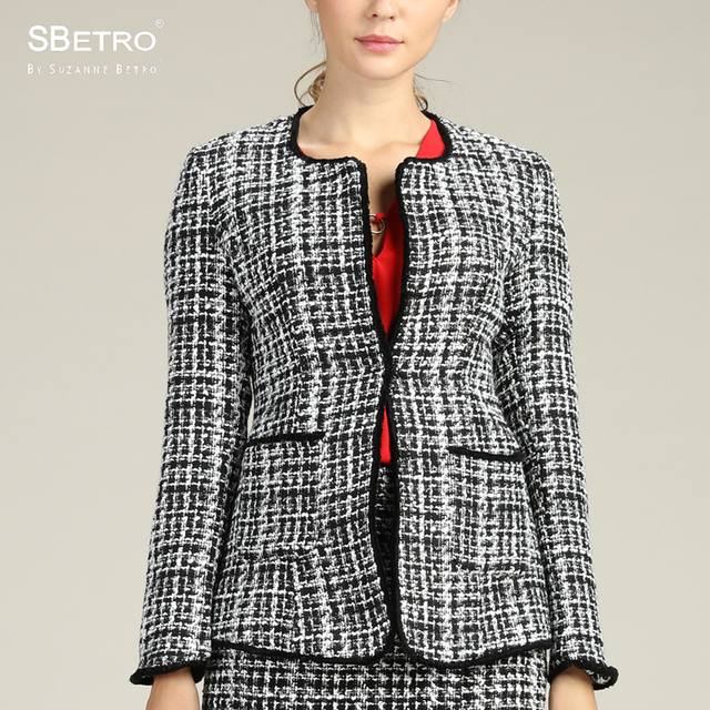SBetro By Suzanne Betro Black White Tweed Fitted Jacket Office Fashion Women Ladies Femme XXXL Plus Size