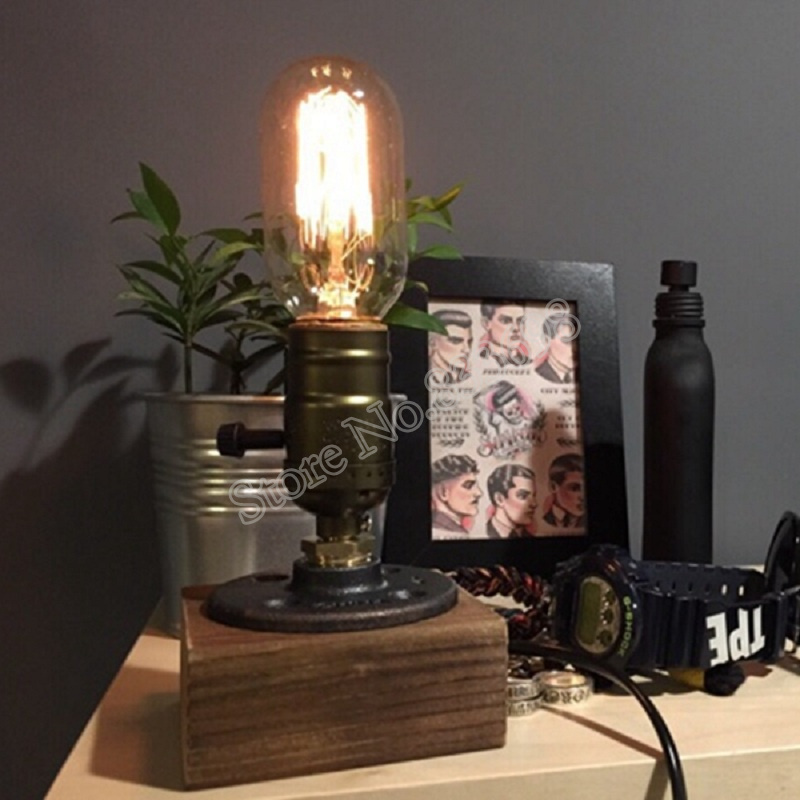 Vintage Table Lamp Water Pipe Light Lamp Home Bar Decor