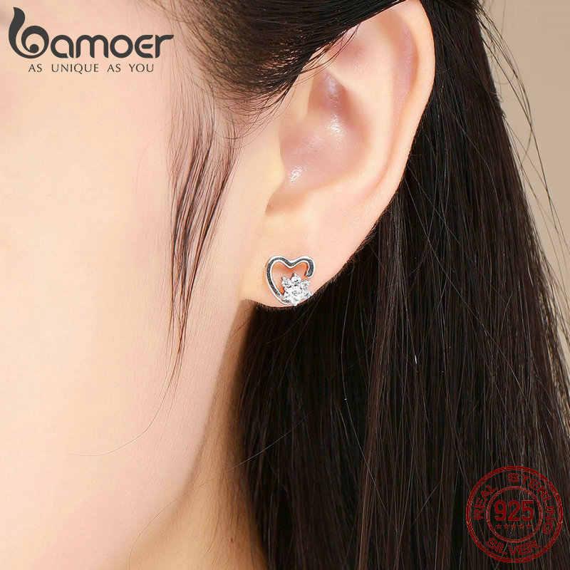 BAMOER Fashion 925 Sterling Silver Classic Heart Clear Cubic Zircon Stud Earrings for Women Sterling Silver Jewelry 2018 SCE415