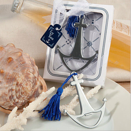 70pcs Wedding Favors Gifts Metal Silver Nautical Themed Anchor Beer Bottle Opener with Blue Tassel