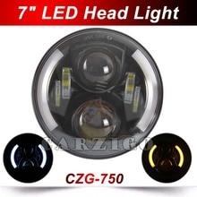 "CZG-750 7 ""50 w led de la motocicleta faros 7"" luz auto del led 7 ""led head lamp 7"" ronda LLEVÓ la luz del ojo del ángulo de 4×4 wrangler J eep"