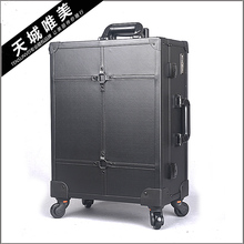 Professional aesthetic multi-layer universal wheels with light trolley cosmetic box adjustable
