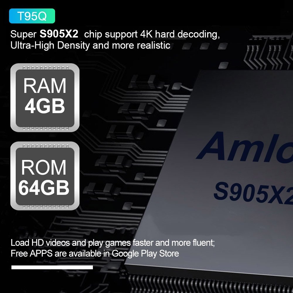 T95Q 4 GB 64 GB Android 8,1 LPDDR4 Amlogic S905X2 TV BOX Quad Core 2,4G y 5 GHz Dual wifi BT4.1 1000 M H.265 4 K Media Player Smart Box - 2