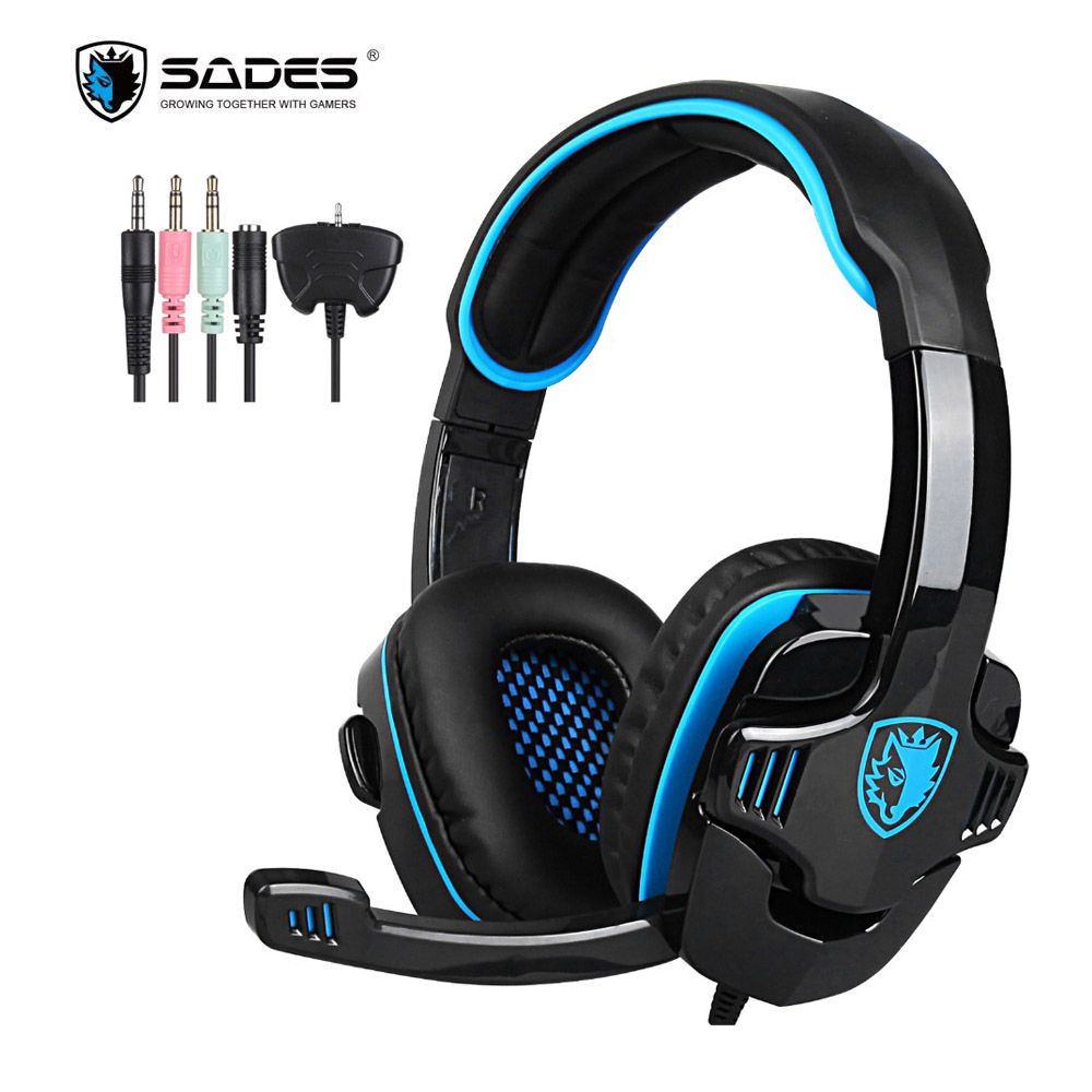 SADES SA-708GT Gaming Headphones 3.5mm Stereo Surround Headset With Microphone For Xbox 360 For Playstation 4 PC Phone Gamer sades sa 901 computer gaming headphones usb 7 1 surround stereo game earphone deep bass headset with microphone mic for pc gamer