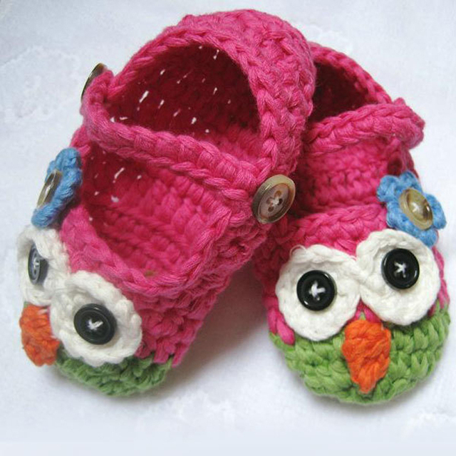 1pair Retail Mary Janes Slippers Baby Crochet Shoes Owl Pattern