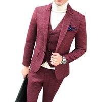 Men Plaid Suits 3 Piece Suits One Button Blazer Jacket Coat Pant Vest M 5XL Slim Fit Dress Casual Business Wedding Party