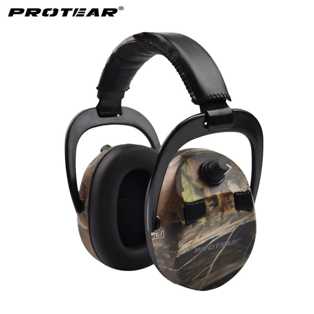 Protear Electronic Ear Protection Shooting Hunting Headphone Print Tactical Headset Hearing Ear Protection Ear Muffs for Hunting slogan print cat ear marled hoodie