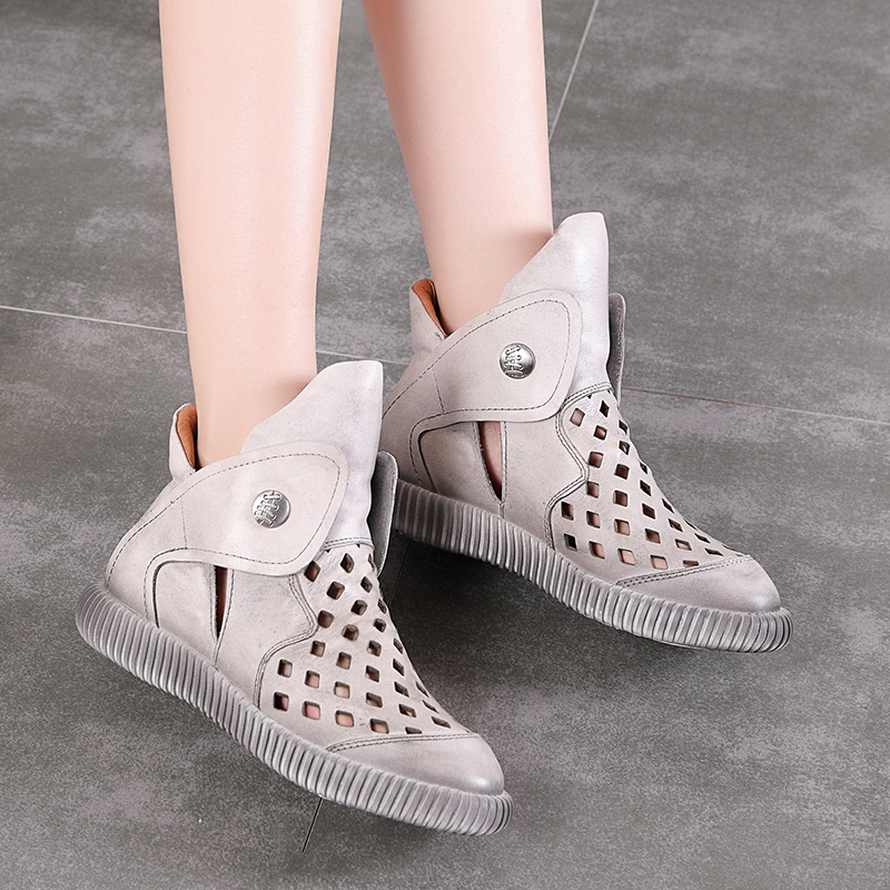 Hollow Out Women s Boots New Arrival Female Casual Shoes Genuine Leather Hook Loop Breathable Soft