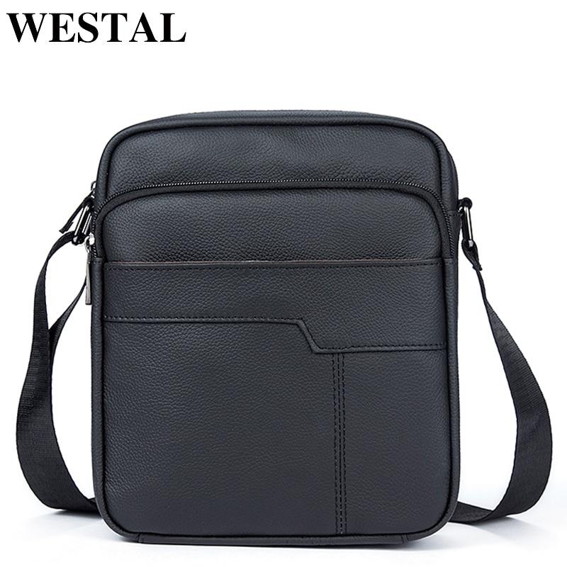 WESTAL Messenger Bag Men Leather Men's Bags Male Small Ipad Flap Genuine Leather Crossbody Bags For Men Shoulder Bag 7603