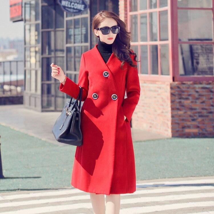 Laine Femmes Col De Manteau 3631 2016 V Noir Mince Cheveux Un rouge D'hiver Longs Manteau Cachemire 5CxYRqtwq