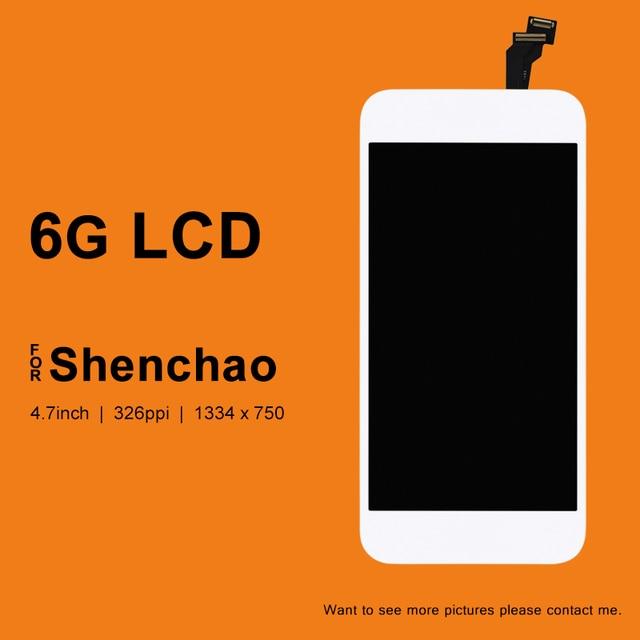 10 piezas para el iphone 6 6G pantalla LCD para el digitalizador de calidad ShenChao con reemplazo de montaje de cristal para la pantalla táctil del iphone 6