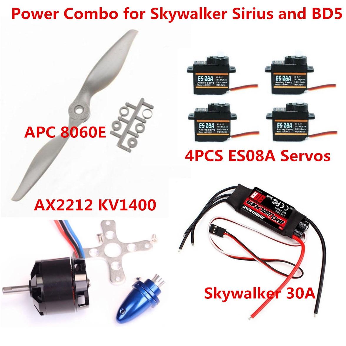 Power Combo for Skywalker Sirius and BD5 (AX2212 kv1400 Motor APC8060E prop Skywalker 30A ESC 4xES08A Servos) skywalker x8 x7 flying wing power combo 12x6 folding propeller ax2820c motor 60a esc es08ma servos