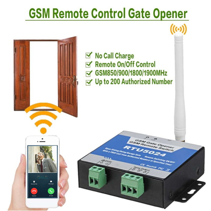 GSM Gate Opener Relay Switch Remote On/Off Switch Access Control Wireless Door Opener By Free Call SMS 850/900/1800MHz RTU5024|Access Control Kits| |  -
