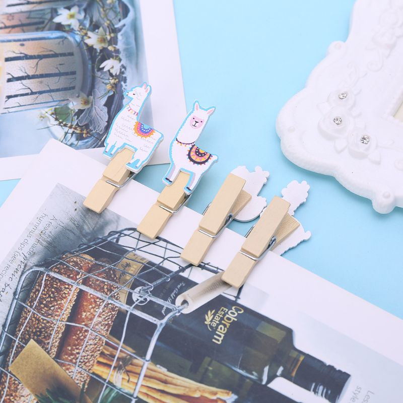 10Pcs/Set Colored Ethnic Alpaca And Cactus Printed Wooden Note Memo Photo Pegs Paper Tag Clips Holder DIY Craft With Hemp Rope - 5