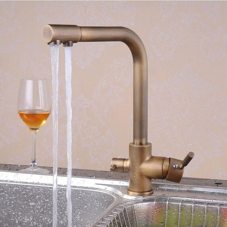 Free shipping Luxury antique filter kitchen faucet with dual handle kitchen sink faucet and deck mounted filter kitchen faucet kitchen as resin faucet filter transparent blue