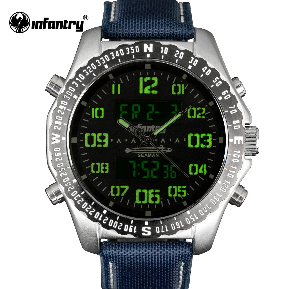 INFANTRY Men Watches Luminous Military Sports Men's Quartz Waterproof Clock Man Durable Nylon Strap Casual Wrist Watch Relogios