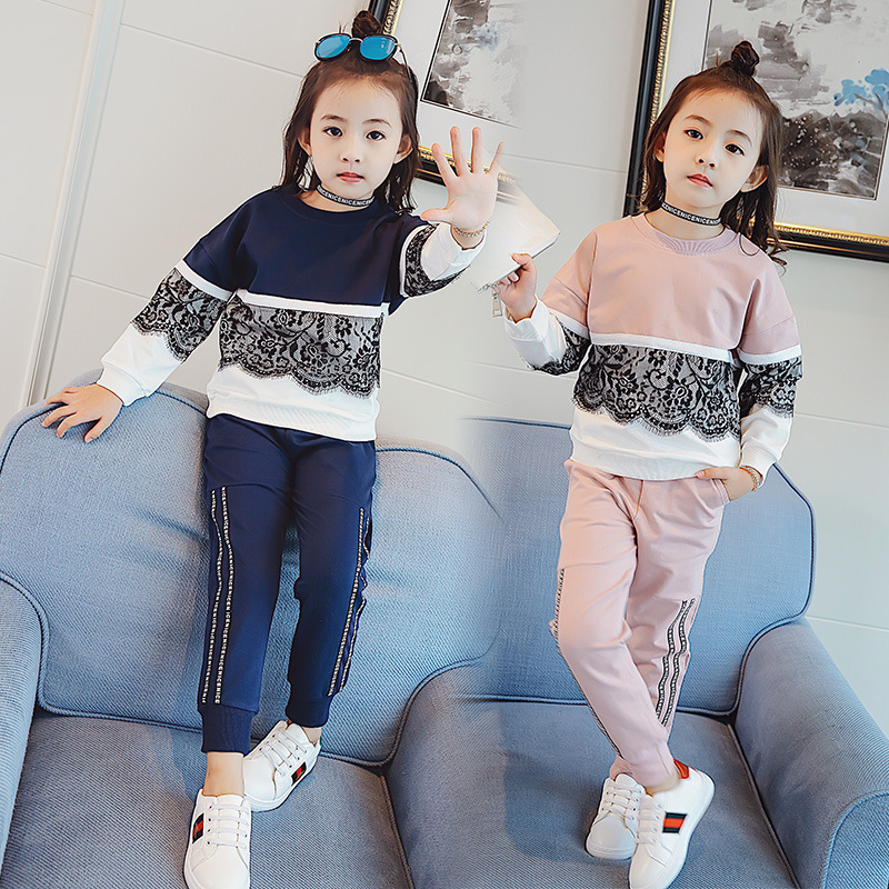 3-12Year Girls Sports Suits Lace Patchwork Cotton Childrens Sets Hoodies+Pants Pink Blue 2pcs Tracksuits School Uniform Outfits