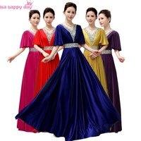 Ladies royal blue red cap tay phụ nữ phù dâu dài bridemaid tầng length dresses beaded bridal gown ăn mặc nữ B3941