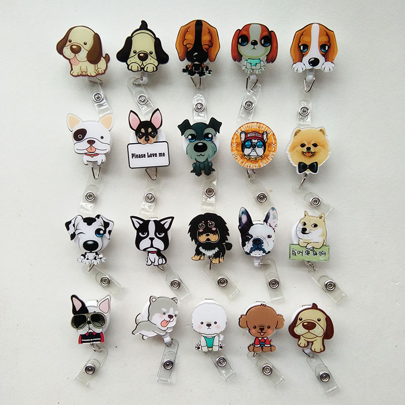 20 pcs lot New Lovely Dog Design Nurse Retractable Badge Reel Pull ID Card Badge Holder