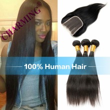 Charming 8A Brazilian Straight Virgin Hair 2 pcs Weft & 1 pc Closure Human Hair Bundles Full Lace  Hair