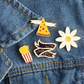 Mini lindo broches con dibujos animados Pizza de papas fritas francés Pines de esmalte vestido de las mujeres sombrero de ramillete de botón insignias de bolso chico regalos