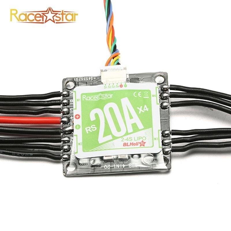 Original Racerstar RS20Ax4 20A 4 in 1 Blheli_S Opto ESC 2-4S Support Oneshot42 Multishot for FPV Racer high quality racerstar rs30a v2 30a blheli s esc opto 2 4s support oneshot42 multishot for fpv racer