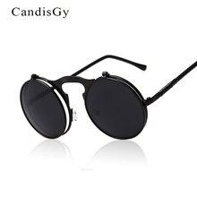CandisGy, классические мужские круглые солнцезащитные очки с плоским покрытием, модные мужские роскошные солнцезащитные очки в золотой оправе с открытыми линзами, Oculos De Sol