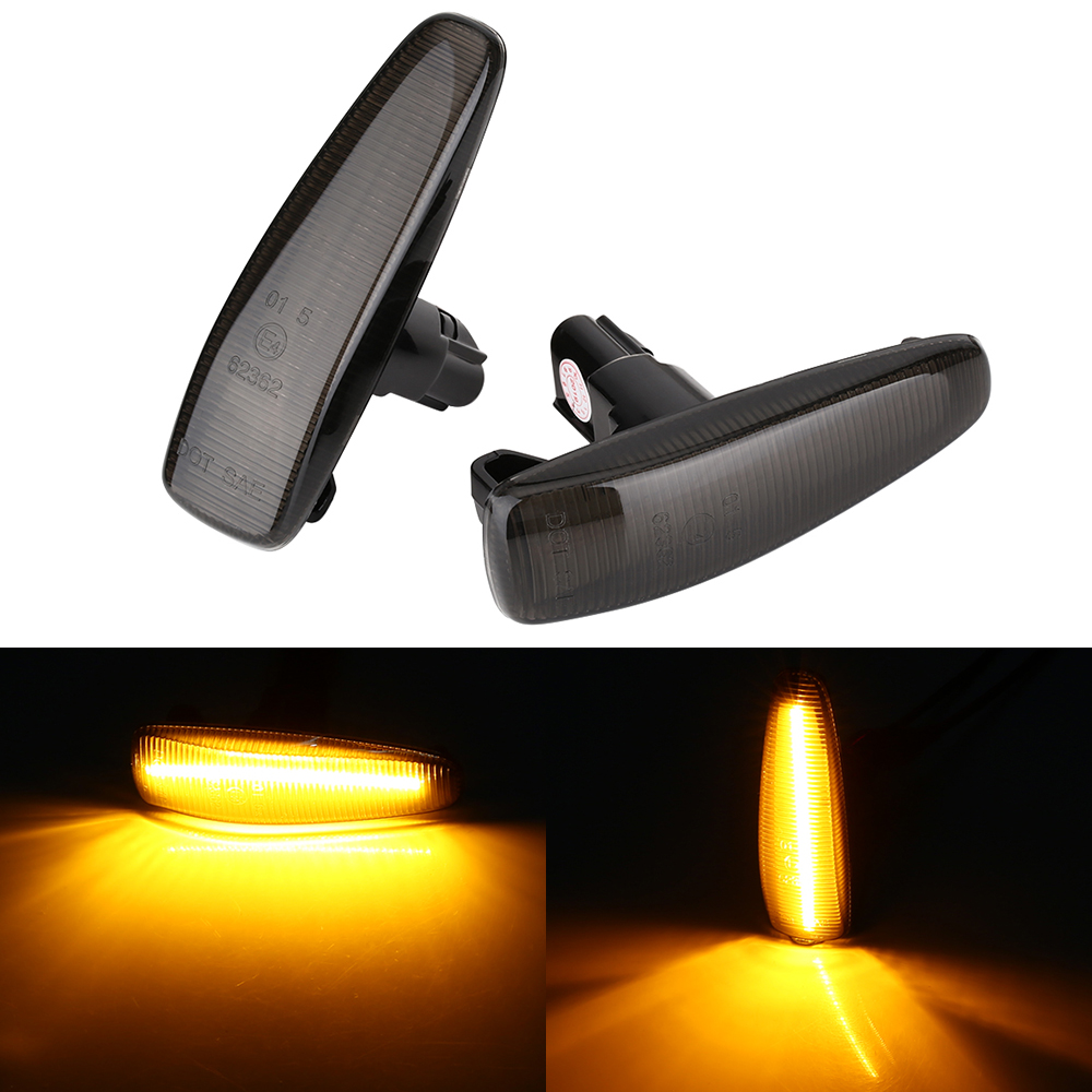 2 pieces Amber LED Fender Side Marker Turn Signal Lights Yellow 8351A001 For Mistubish Lancer EVO X Smoke LED Light