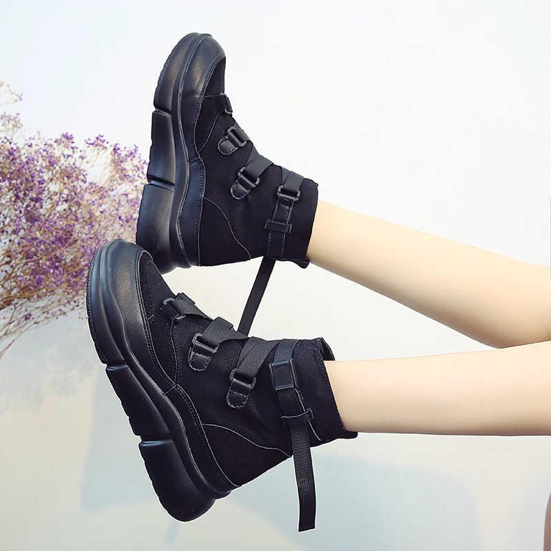 Fujin 2019 Yeni Varış Tuval yarım çizmeler Kadınlar Için Kanca Döngü Platformu Çizmeler Moda Punk siyah çizmeler düz ayakkabı Kışlık Botlar