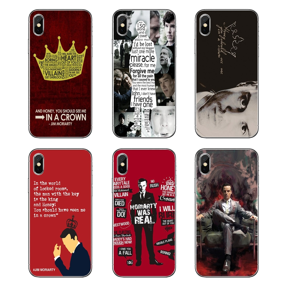 US $0 99 |Transparent Soft Case Jim Moriarty Sherlock Holmes Quotes Poster  For iPod Touch iPhone 4 4S 5 5S 5C SE 6 6S 7 8 X XR XS Plus MAX-in Fitted