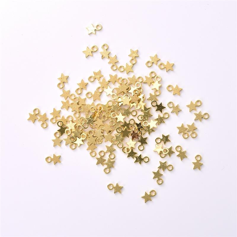 100Pcs Gold/Silver Color Stars Pendant DIY Jewelry Accessories Necklace Bracelet Women Jewelry Findings Making Wholesale(China)