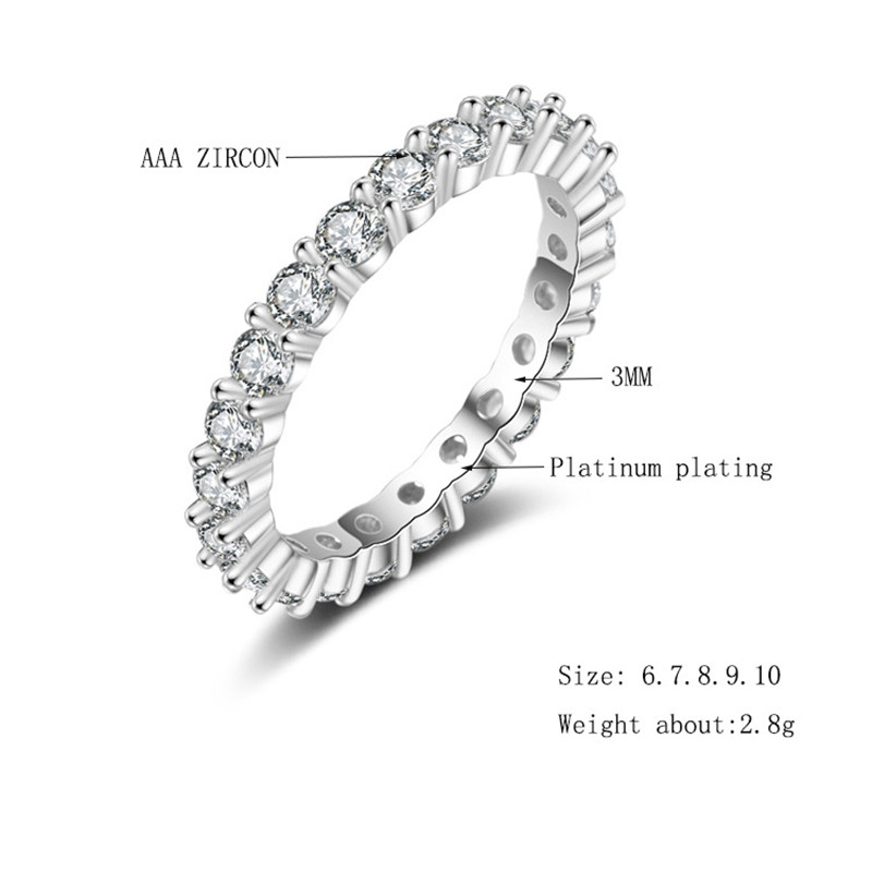 Cuteeco Luxury Pandora Jewelry White Color Cubic Zirconia Simple Ring For Women Wedding Engagement Jewelry Gifts