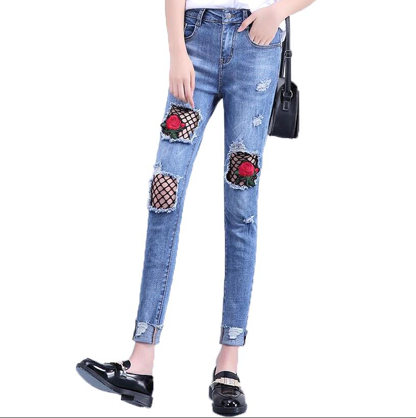 Summer New Ripped Hole Lace Jeans Ankle length Pants Fashion Sexy Floral Embroideryhigh Waist Pencil Pants