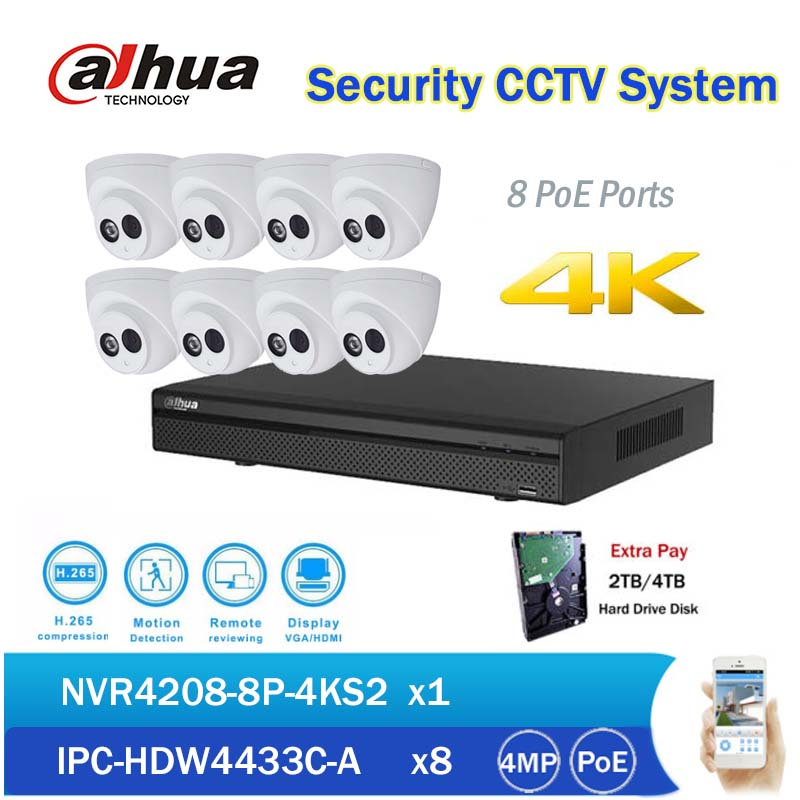 Dahua CCTV NVR Kits 8CH PoE 4K Network Video Recorder NVR4208-8P-4KS2 with 8pcs IPC-HDW4433C-A 4MP IP Dome Camera built in mic