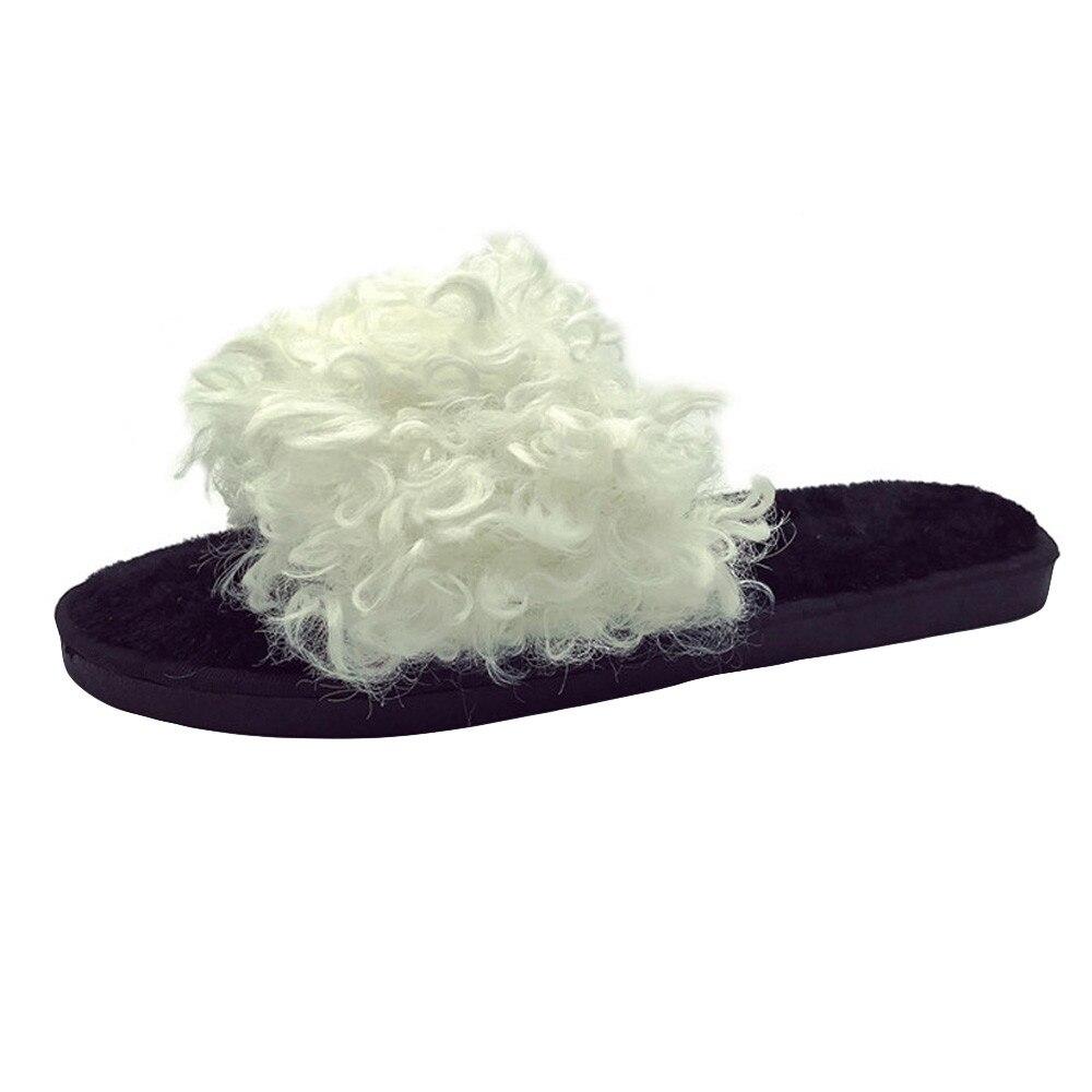 2018 Womens Ladies Slip On Sliders Fluffy Faux Fur Flat Slippers Flip Flop Sandals Hot Sale #08 slip-on shoe