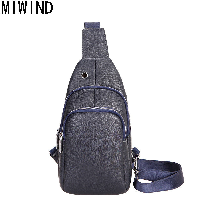 MIWIND Brand Fashion Genuine Leather Daily Traveling Shoulder Bag Man Cowhide Leather Chest Bags Small Crossbody Bag  TMH1110 miwind 100