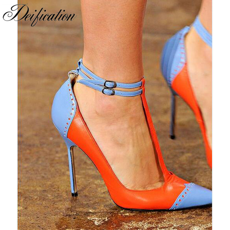 Deification Sexy T-Strap High Heels Fashion Mixed Colors Real Leather Runway Wedding Shoes Woman Fretwork Outfit Sapato Feminino