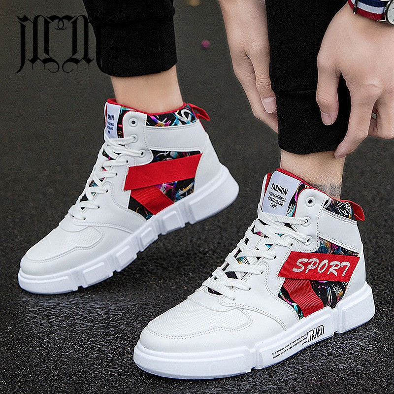 MUMUELI Black Red 2019 Designer Casual Breathable Shoes Men High Top Quality Fashion Luxury Flat Brand Leather Sneakers SH 191