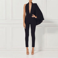 2017 Couture Autumn Collection Jumpsuits V Neck Shawls And Feet Sexy Club Black Romper