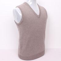 high quality 100%goat cashmere men's vest sweater small argyle plaid dad's pullover light brown S/105 3XL/130