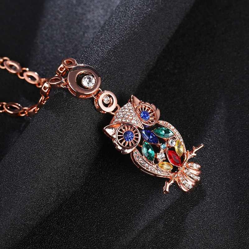 Owl pendant necklace phụ nữ hợp thời trang pha lê dây chuyền cổ áo kẽm hợp kim rose vàng màu liên kết chuỗi choker necklace animal jewelry