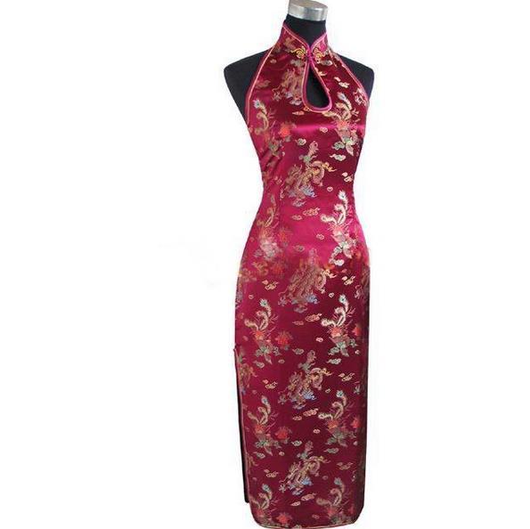 Sexy Burgundy Backless Traditional Chinese Dress Long Halter Cheongsam Qipao Novelty Dripping Costume S M L XL XXL XXXL WC025